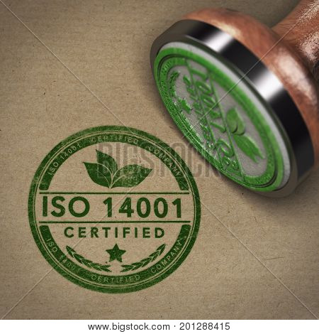 3D illustration of a rubber stamp with the text ISO 14001 over brown cardboard background
