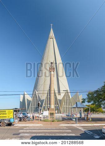 Front View Of Catedral Basilica Menor Nossa Senhora Da Gloria In Maringa City