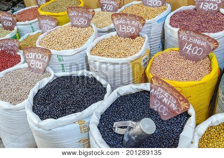 Bags With Grains For Sale In The Municipal Market Shangri-la