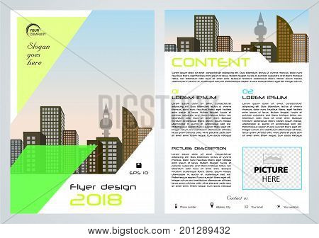 Vector Flyer, Corporate Business, Annual Report, Brochure Design And Cover Presentation With Green P
