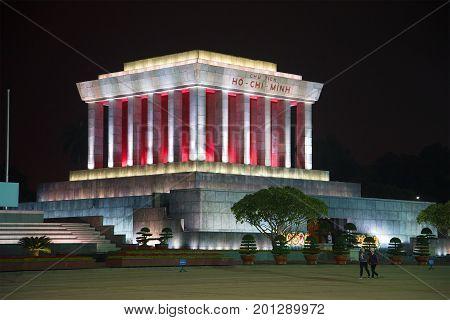 HANOI, VIETNAM - JANUARY 09, 2016: Ho Chi Minh's mausoleum on the Badin Square large the plan late evening