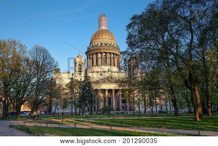 SAINT-PETERSBURG RUSSIA - 25 MAY 2017: View of St. Isaac Cathedral. It's under reconstruction view from the outside. but it reconstruction the part of building.
