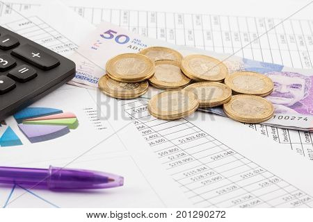 Monthly Budget Spreadsheet, Money, Pen And Calculator