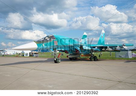 ZHUKOVSKY, RUSSIA - JULY 20, 2017: Russian multifunctional fighter-bomber Su-32 close-up. MAKS-2017 Air Show