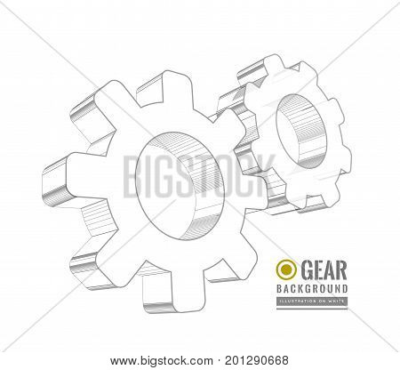 Gear schematic vector illustration on white background