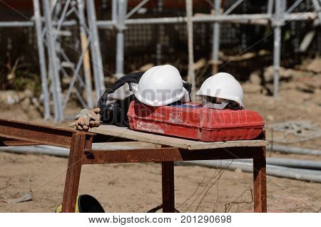 image of сonstruction helmets on the construction site