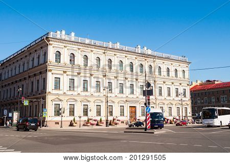 ST PETERSBURG RUSSIA - AUGUST 15 2017. Building of the Ministry of State Property home minister and the ministry itself in St Petersburg Russia. Now it's Vavilov Institute of Plant Industry