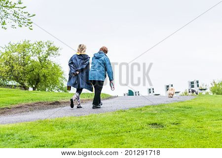 Quebec City, Canada - May 30, 2017: Two Women Walking On Trail Path Street In Plaines D'abraham In M