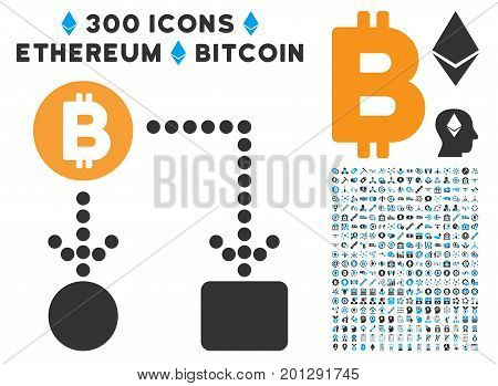 Bitcoin Cashflow icon with 300 blockchain, bitcoin, ethereum, smart contract design elements. Vector pictograph collection style is flat iconic symbols.