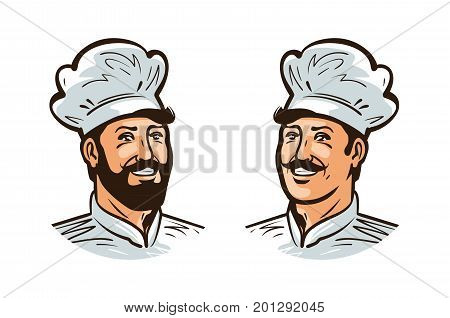 Happy cook, chef logo or label. Illustration for design menu restaurant or cafe. Cartoon vector isolated on white background