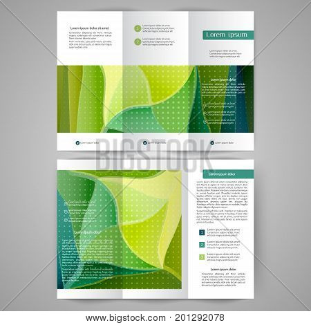 Color tri fold business brochure with green abstract lines and waves