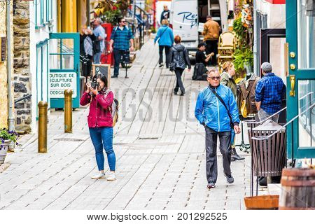 Quebec City, Canada - May 30, 2017: Lower Old Town Street Called Rue Du Petit Champlain With Tourist