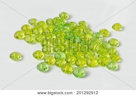 acrylic beads on a white background. Acrylic beads for design