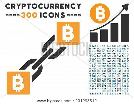 Bitcoin Blockchain pictograph with 300 blockchain, bitcoin, ethereum, smart contract images. Vector icon set style is flat iconic symbols.