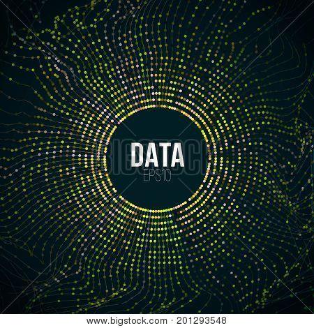 Abstract bigdata illustration. Particle circle grid glitch. Digital big data background