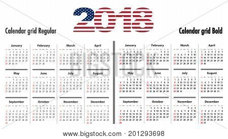 Calendar grid for 2018 with USA flag colors on 2018 digits. Sundays first. Regular and bold digits grid. Best for business and office web design presentations and prints.  Vector illustration