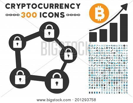 Blockchain Network icon with 300 blockchain, bitcoin, ethereum, smart contract pictograms. Vector icon set style is flat iconic symbols.