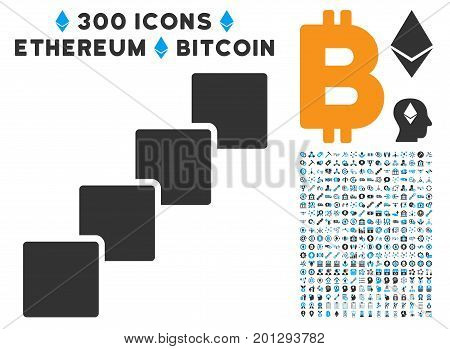 Blockchain pictograph with 300 blockchain, cryptocurrency, ethereum, smart contract symbols. Vector pictograph collection style is flat iconic symbols.