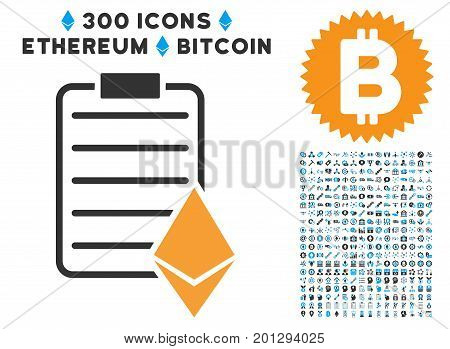 Ethereum Contract pictograph with 300 blockchain, bitcoin, ethereum, smart contract design elements. Vector icon set style is flat iconic symbols.