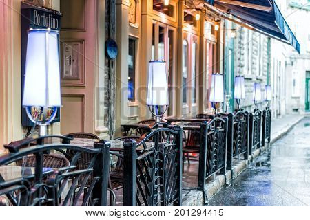 Quebec City, Canada - May 31, 2017: Old Town Street Rue Couillard With Closeup Of Lights By Tables O