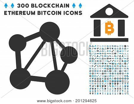Network icon with 300 blockchain, bitcoin, ethereum, smart contract pictures. Vector icon set style is flat iconic symbols.