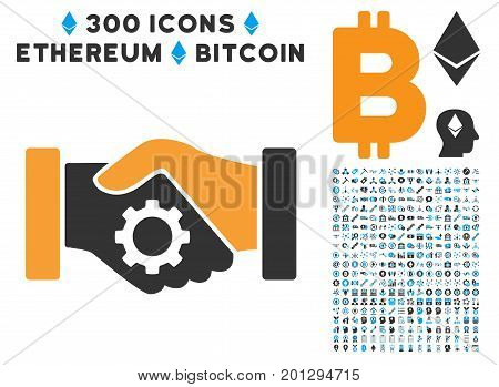 Smart Contract Handshake pictograph with 300 blockchain, cryptocurrency, ethereum, smart contract design elements. Vector clip art style is flat iconic symbols.