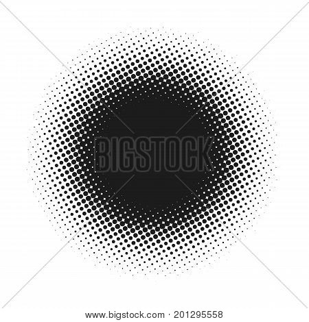 Halftone dotted vector abstract background, dot pattern in circle shape. Black comic banner isolated white backdrop. Trendy design element for round label or logo.