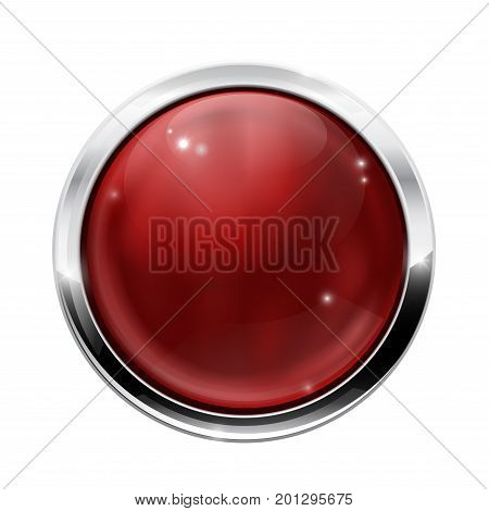 Round glass button. Dark red web icon with chrome frame. Vector illustration isolated on white background