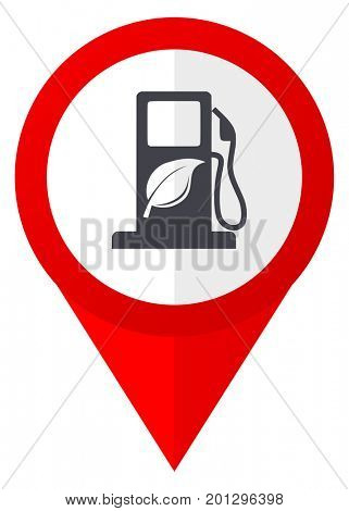 Biofuel red web pointer icon. Webdesign button on white background.