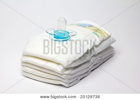 Infant Diapers And Clear Blue Pacifier
