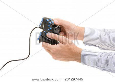 Male hands with gamepad on white background isolation