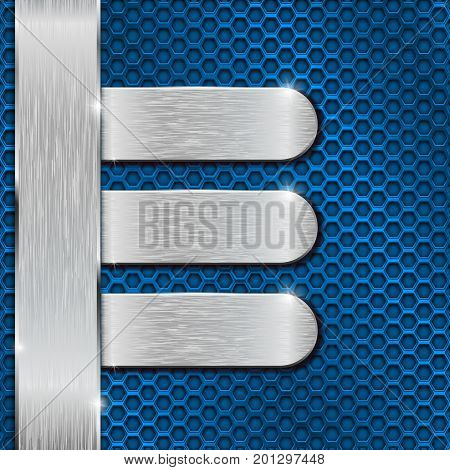 Blue background. Metal perforation with stainless steel plates. Vector 3d illustration