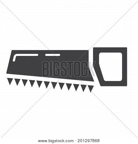 Hand saw glyph icon, build and repair, handsaw sign vector graphics, a solid pattern on a white background, eps 10.