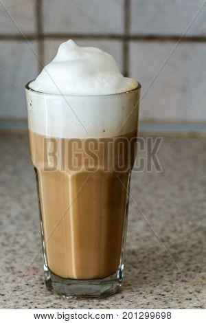 Latte Glass Cup Coffee With Foam Milk