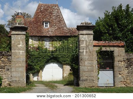 Gatehouse to an ancient chateau in rural France