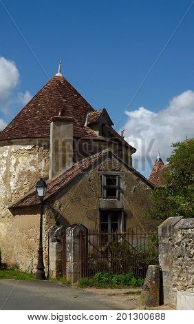 Gatehouse to a medieval French chateau in rural France