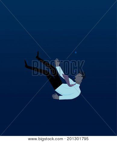 Businessman drowning in deep sea blue waters