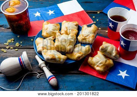 Chilean Independence Day Concept. Fiestas Patrias. Chilean Typical Dish And Drink On Independence Da