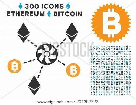 Cryptocurrency Blender Rotor pictograph with 300 blockchain, cryptocurrency, ethereum, smart contract graphic icons. Vector pictograph collection style is flat iconic symbols.