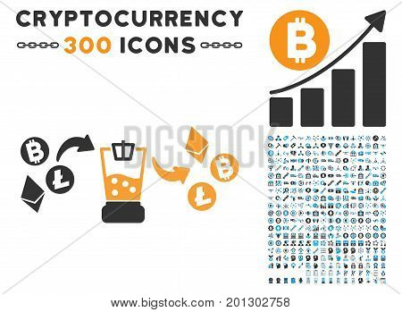 Cryptocurrency Mixer pictograph with 300 blockchain, bitcoin, ethereum, smart contract images. Vector pictograph collection style is flat iconic symbols.