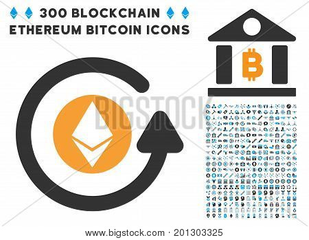Ethereum Chargeback icon with 300 blockchain, bitcoin, ethereum, smart contract graphic icons. Vector illustration style is flat iconic symbols.