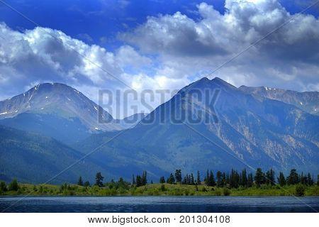 High mountain lake in Rocky Mountains in Colorado