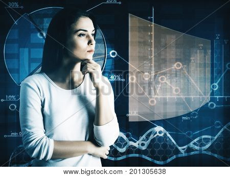 Side view of thoughtful young woman on abstract business screen background. Future concept. Double exposure