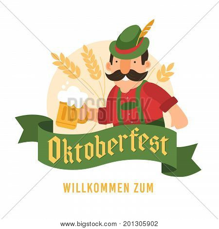 Man in red shirt with glass of beer in background colossus. Green banner with words Oktoberfest, Welcome in German