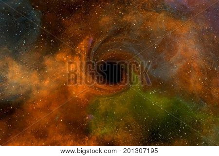 Computer generated image of unreal black hole