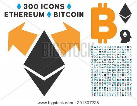 Ethereum Spend Arrows icon with 300 blockchain, bitcoin, ethereum, smart contract graphic icons. Vector illustration style is flat iconic symbols.