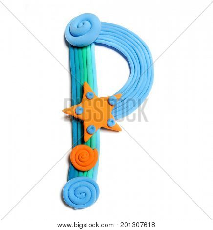 Plasticine letter P. Color plasticine alphabet, isolated. Blue and orange color of the alphabet