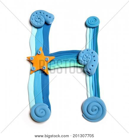 Plasticine letter H. Color plasticine alphabet, isolated. Blue and orange color of the alphabet