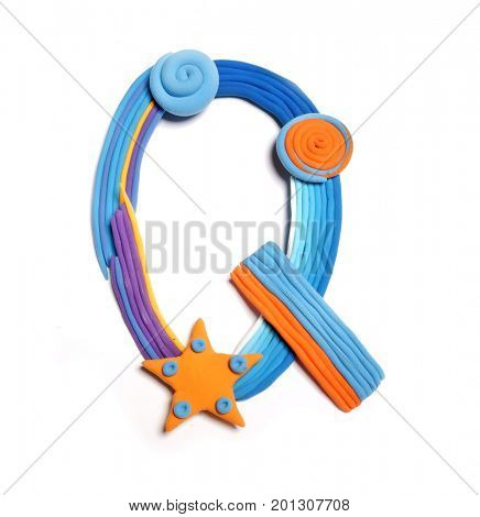 Plasticine letter Q. Color plasticine alphabet, isolated. Blue and orange color of the alphabet