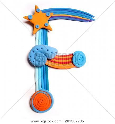 Plasticine letter F. Color plasticine alphabet, isolated. Blue and orange color of the alphabet